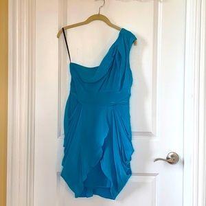 Bebe Blue One Shoulder Dress Size S
